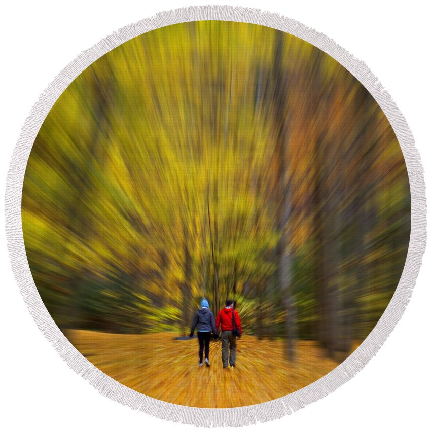 Creative Round Beach Towel featuring the photograph A Fall Stroll Taughannock by Jerry Fornarotto
