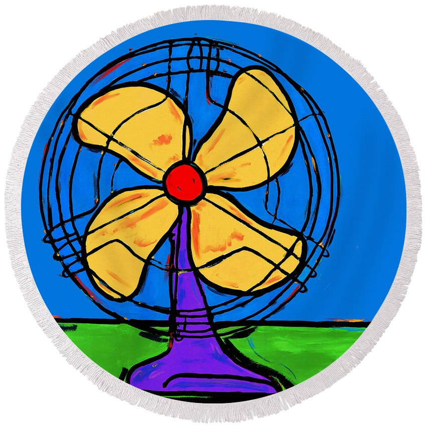 Fan Round Beach Towel featuring the painting A Fan Of Color by Dale Moses