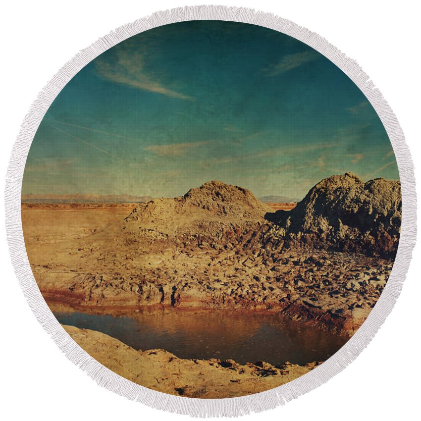 Mud Pots Round Beach Towel featuring the photograph A Far Off Place by Laurie Search