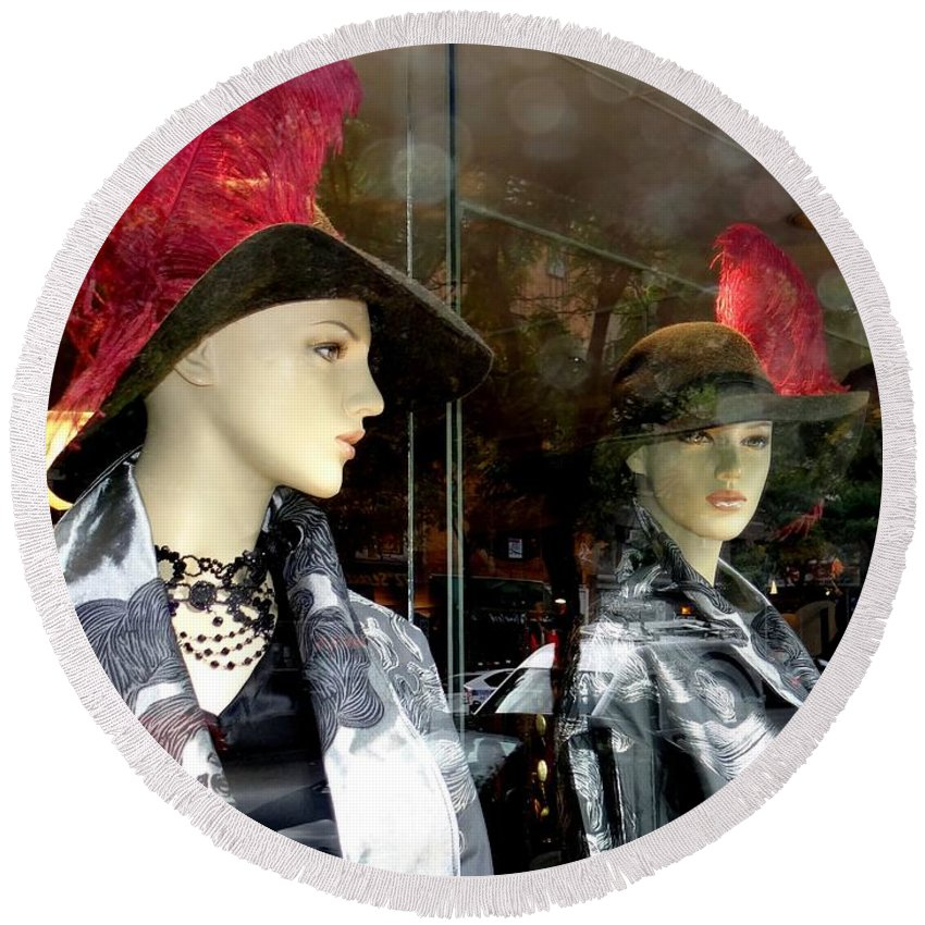 Mannequins Round Beach Towel featuring the photograph A Feather In Her Hat by Ed Weidman