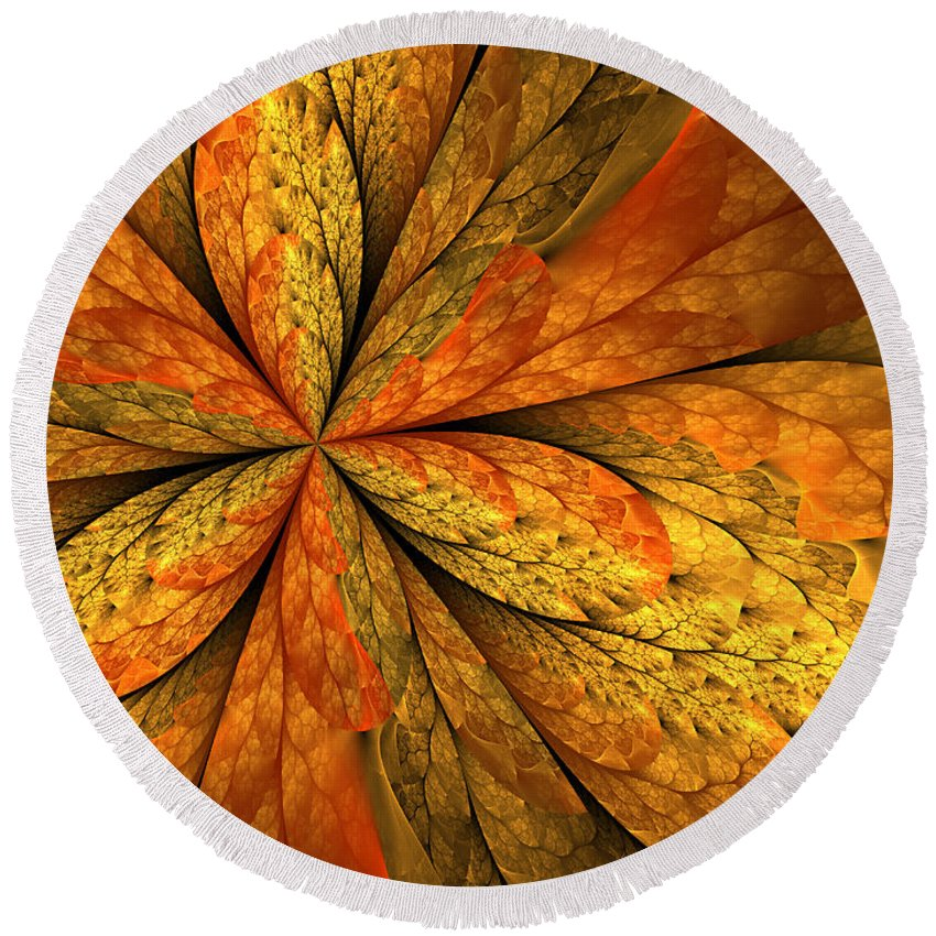 Abstract Round Beach Towel featuring the digital art A Feeling Of Autumn by Gabiw Art