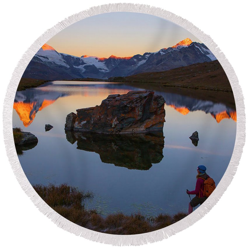30-34 Years Round Beach Towel featuring the photograph A Female Hiker Is Enjoying The Gorgeous by Menno Boermans