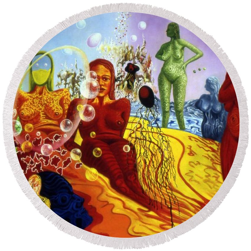 Genio Round Beach Towel featuring the painting A Feminine Day In A Masculine Dreamer's Night by Genio GgXpress