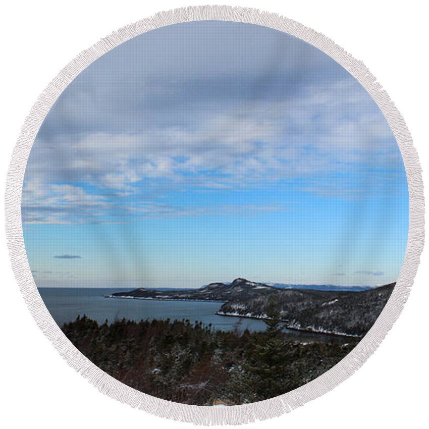 Barbara Griffin Round Beach Towel featuring the photograph A Fine January Day On The Bay by Barbara Griffin