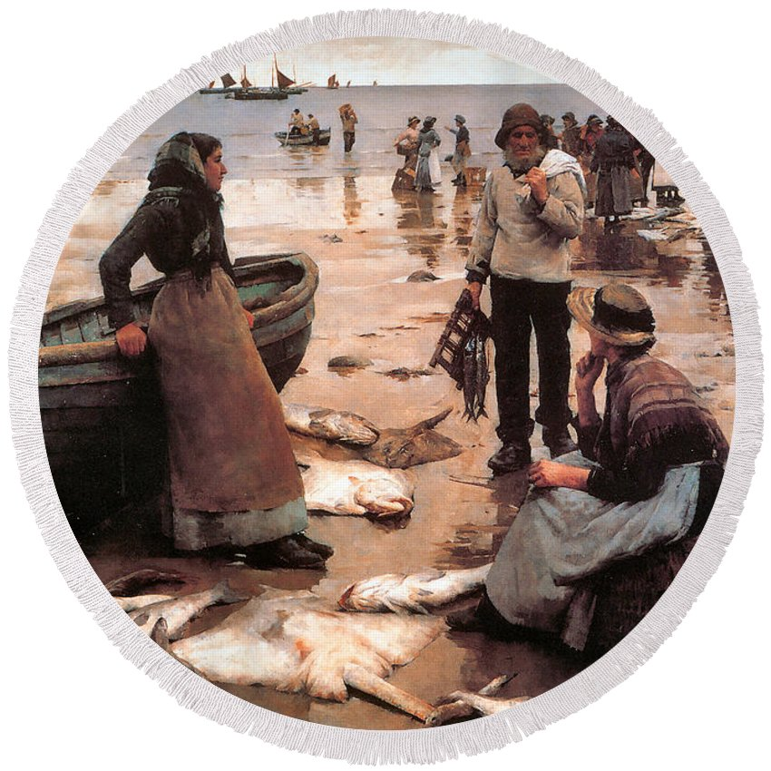 Stanhope Alexander Forbes Round Beach Towel featuring the digital art A Fish Sale On A Cornish Beach by Stanhope Alexander Forbes