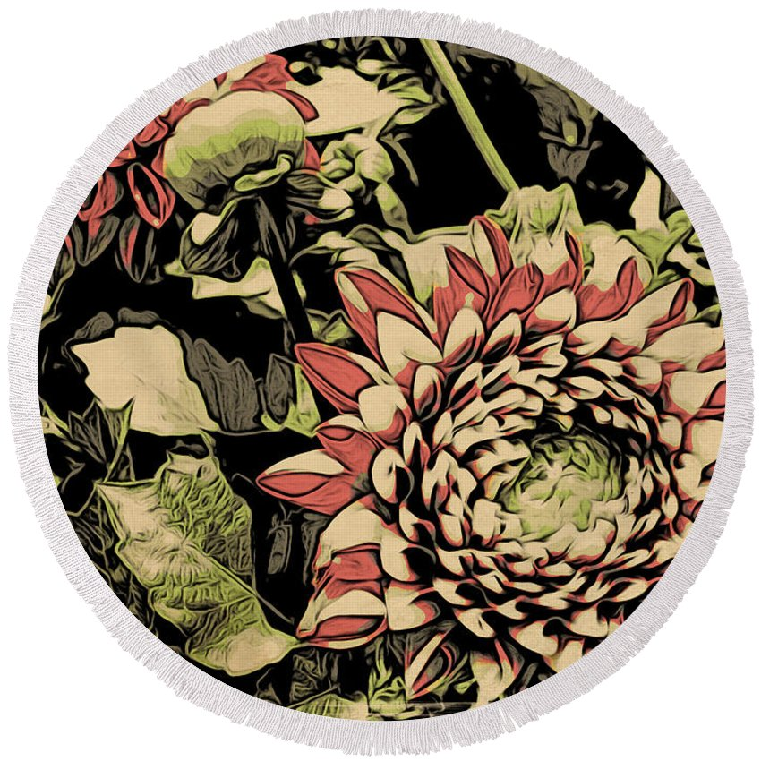 Flowers Round Beach Towel featuring the photograph A Floral View by Alice Gipson