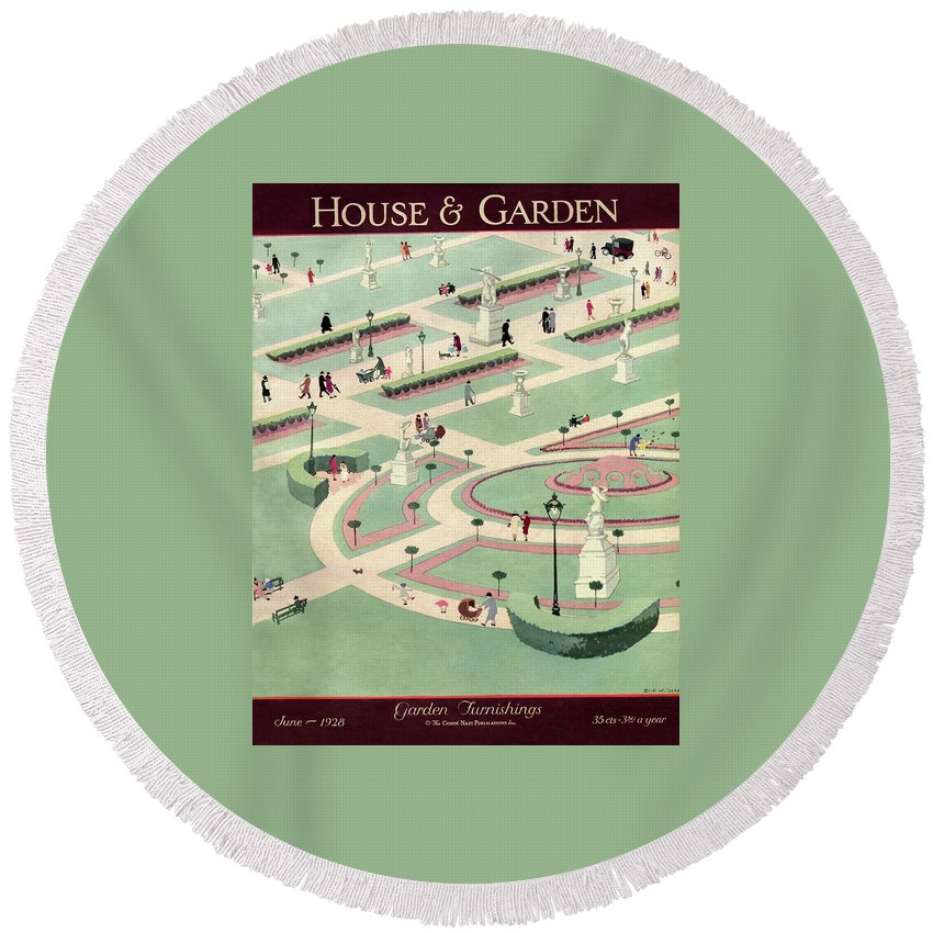 House And Garden Round Beach Towel featuring the photograph A Formally Designed Park by Marion Wildman