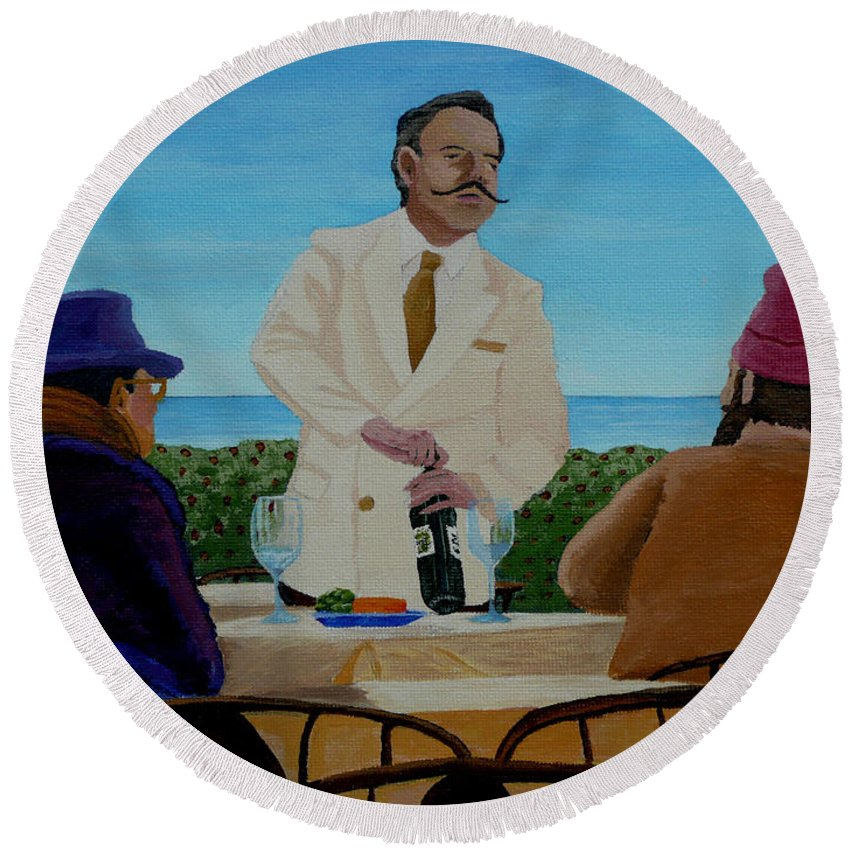 Wine Round Beach Towel featuring the painting A Fresh Bottle by Anthony Dunphy