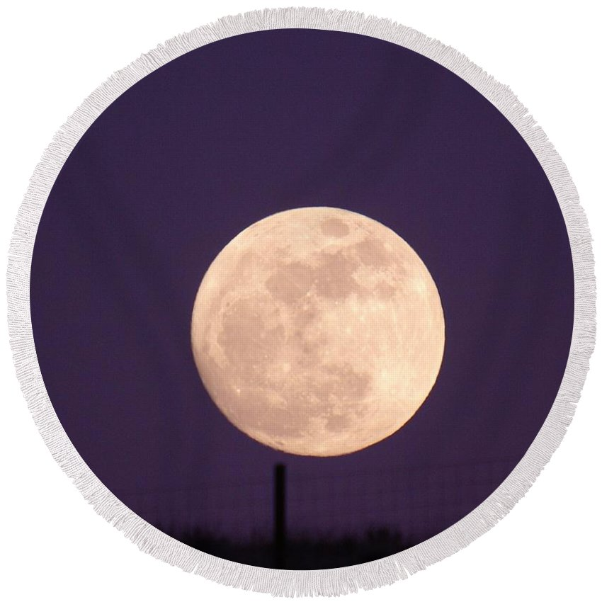 Moon Round Beach Towel featuring the photograph A Full Moon Behind My Fence by Jeff Swan