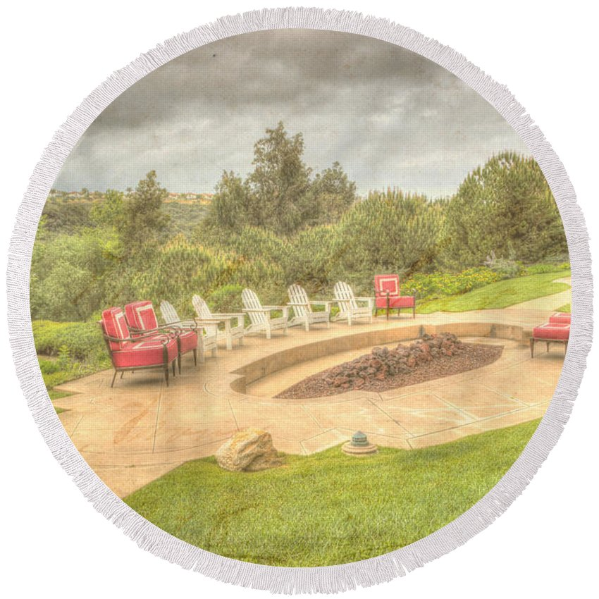 Architecture Round Beach Towel featuring the photograph A Gathering Of Friends by Heidi Smith