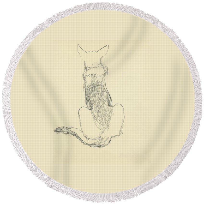 Animal Round Beach Towel featuring the digital art A German Shepherd by Carl Oscar August Erickson