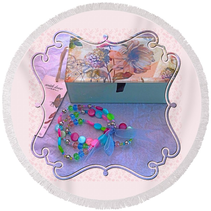 Jewel Box Round Beach Towel featuring the photograph A Gift With Love by Joan-Violet Stretch