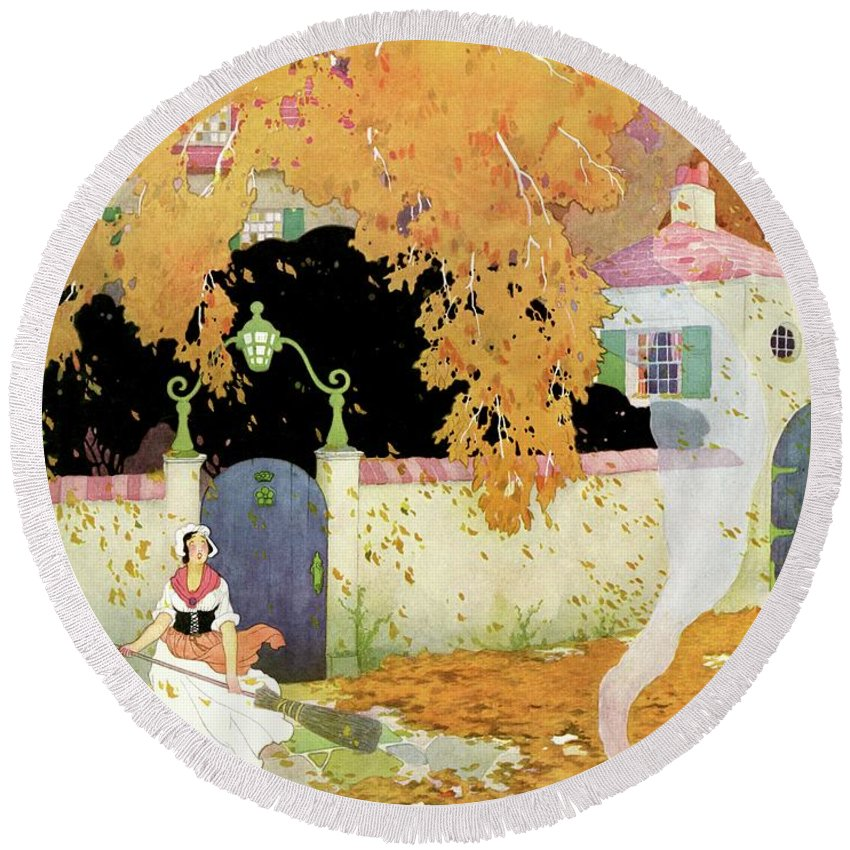 House And Garden Round Beach Towel featuring the photograph A Girl Sweeping Leaves by The Reeses