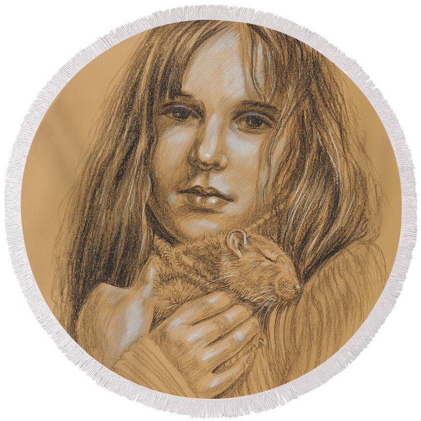 Girl Round Beach Towel featuring the drawing A Girl With The Pet by Irina Sztukowski