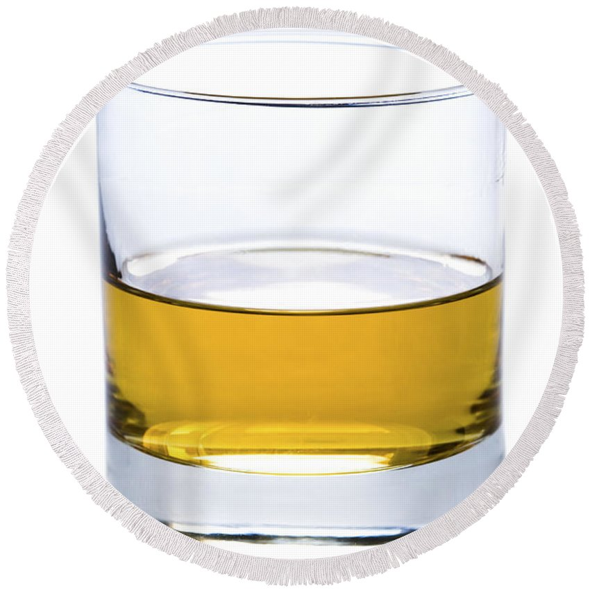 Whisky Round Beach Towel featuring the photograph A Glass Of Whisky Or Whiskey Isolated by Lee Avison