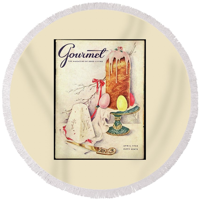 Food Round Beach Towel featuring the photograph A Gourmet Cover Of A Cake by Hilary Knight