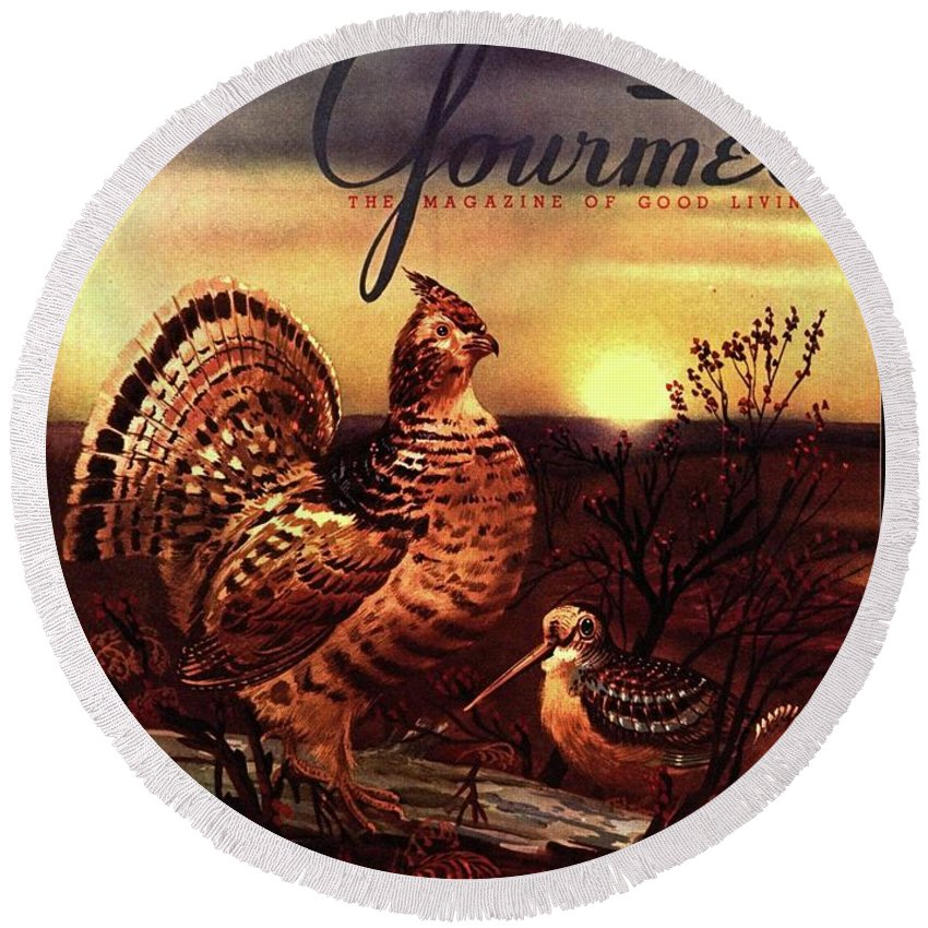 Illustration Round Beach Towel featuring the photograph A Gourmet Cover Of A Turkey by Henry Stahlhut