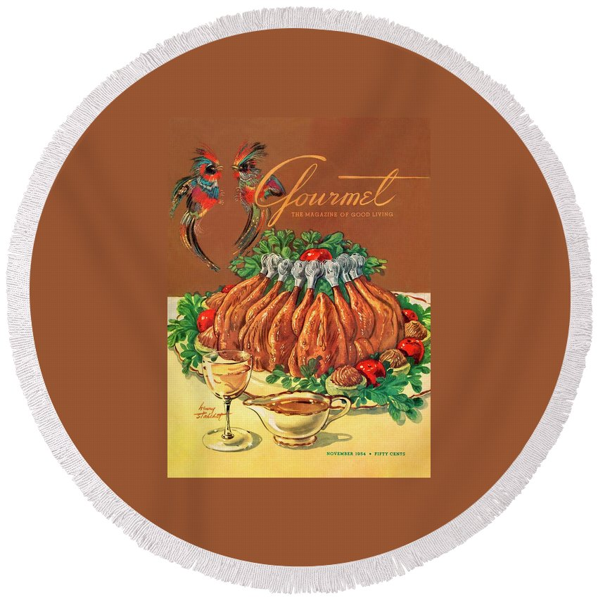 Food Round Beach Towel featuring the photograph A Gourmet Cover Of Chicken by Henry Stahlhut