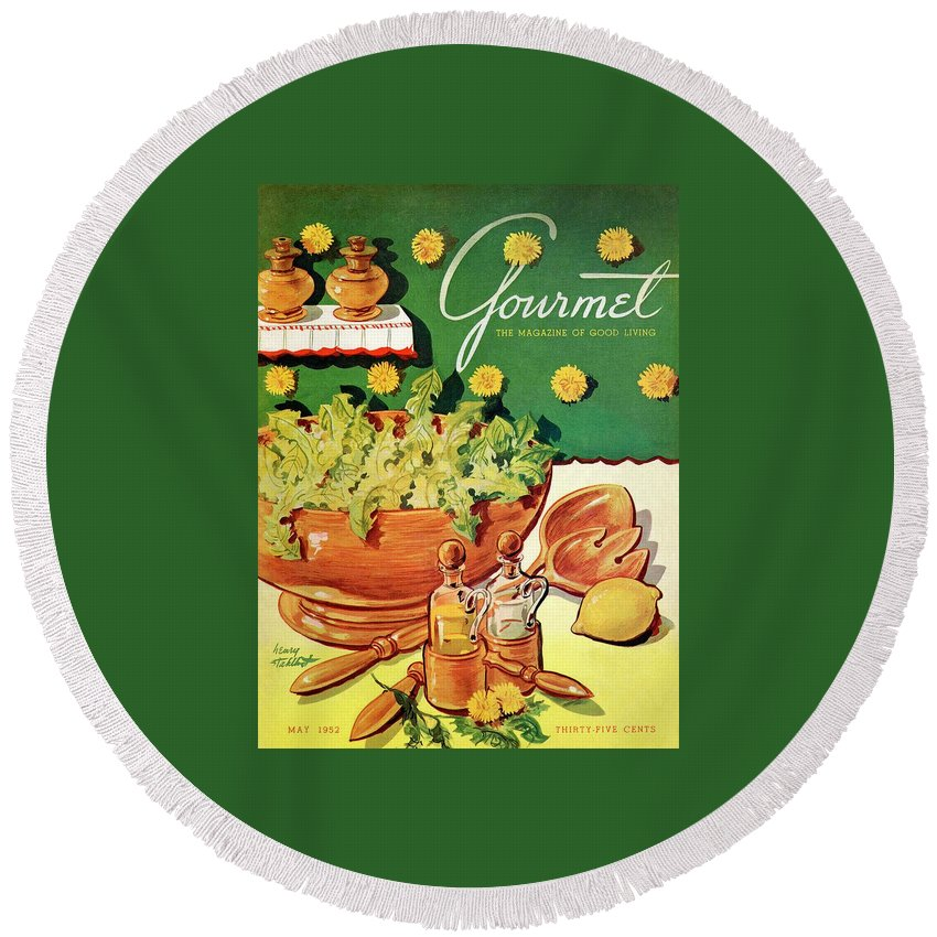 Food Round Beach Towel featuring the photograph A Gourmet Cover Of Dandelion Salad by Henry Stahlhut