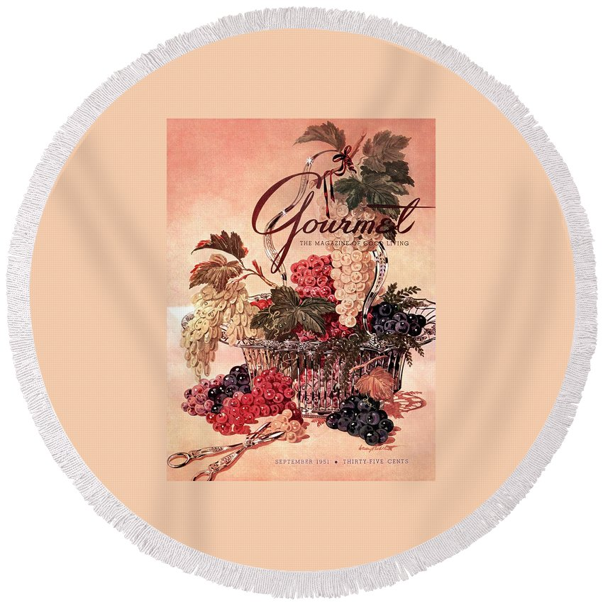 Illustration Round Beach Towel featuring the photograph A Gourmet Cover Of Grapes by Henry Stahlhut