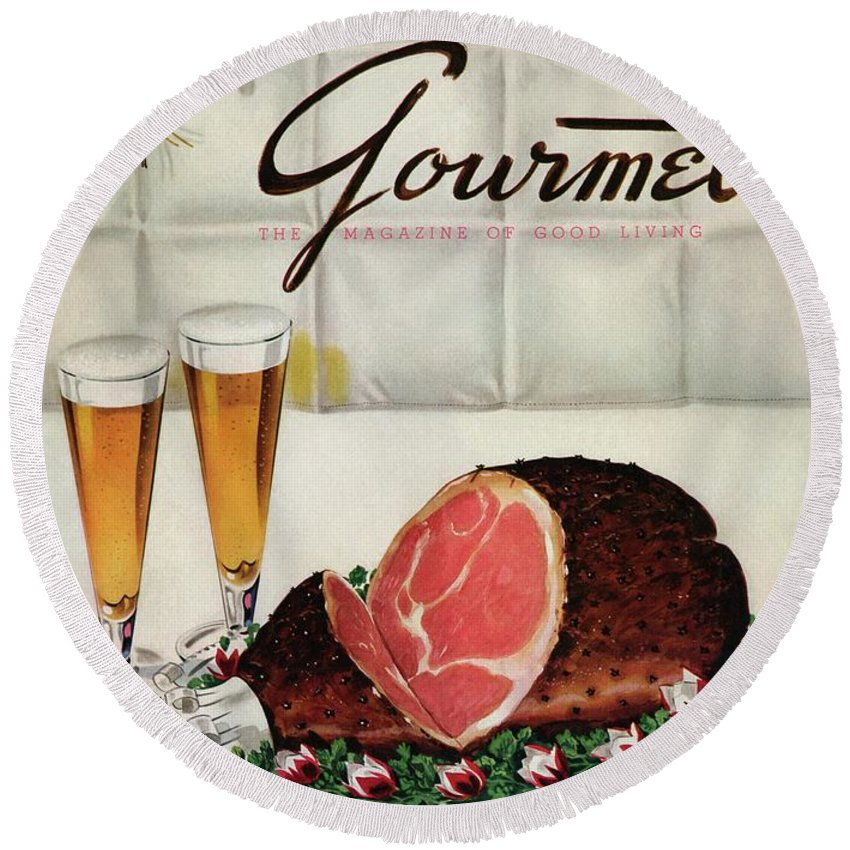 Illustration Round Beach Towel featuring the photograph A Gourmet Cover Of Ham by Henry Stahlhut