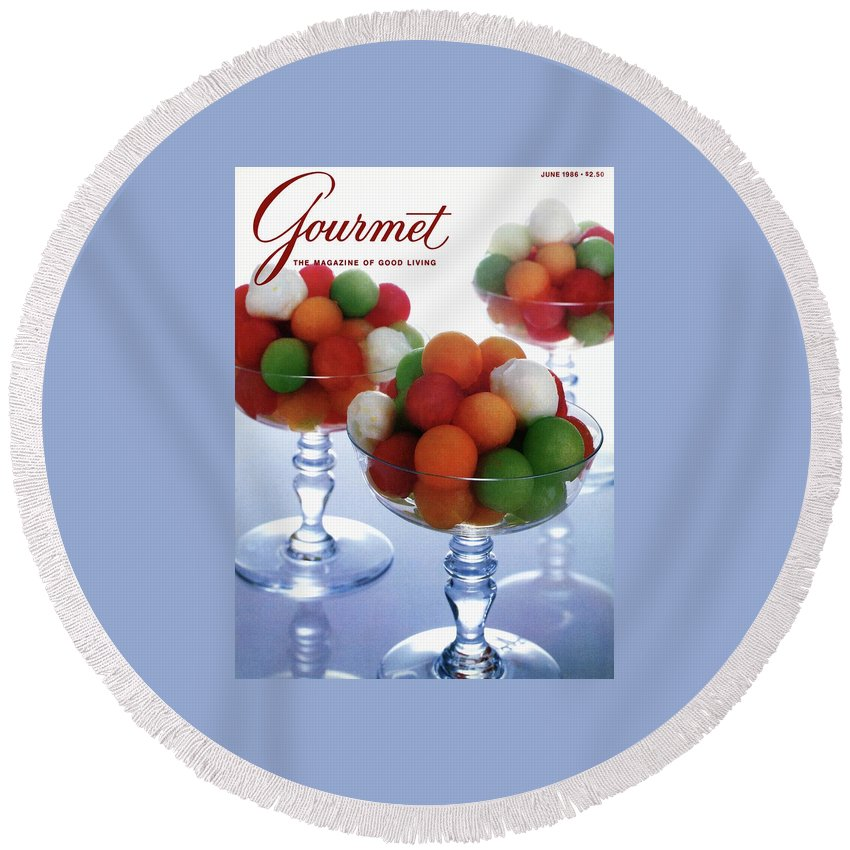 Food Round Beach Towel featuring the photograph A Gourmet Cover Of Melon Balls by Romulo Yanes