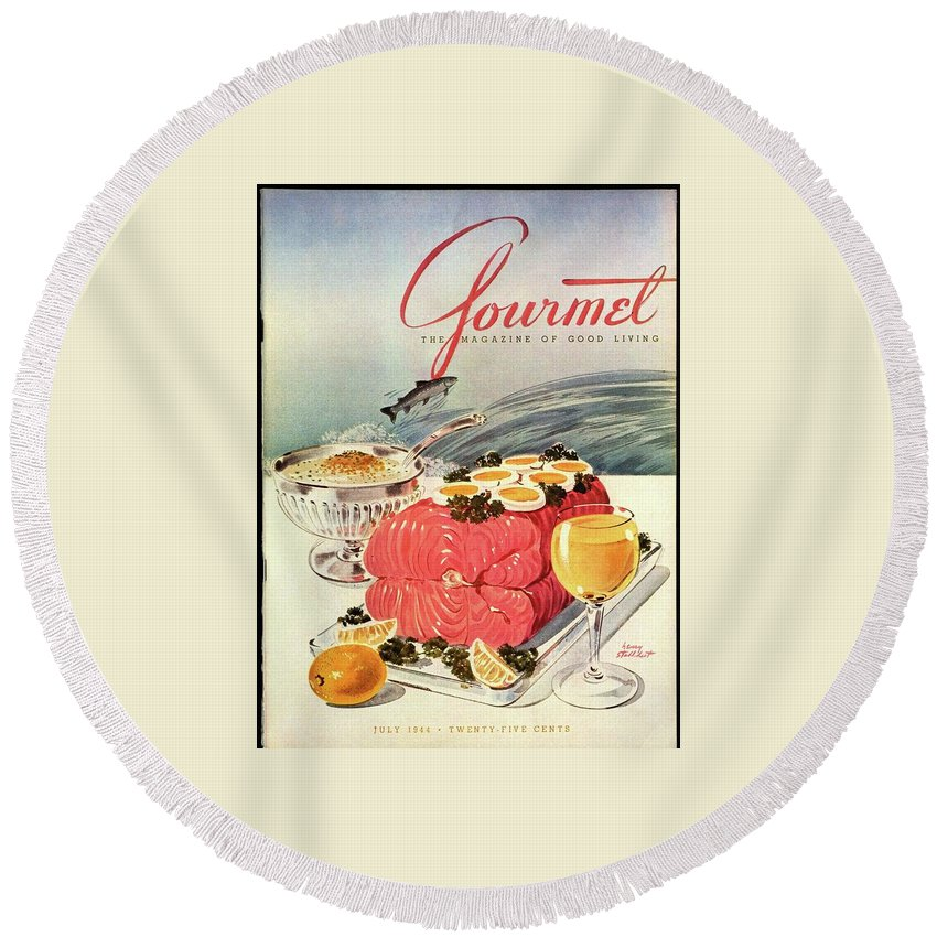 Food Round Beach Towel featuring the photograph A Gourmet Cover Of Poached Salmon by Henry Stahlhut