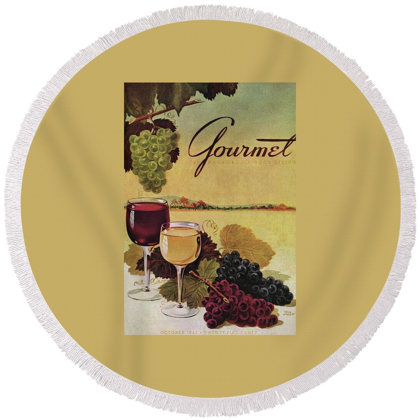 Exterior Round Beach Towel featuring the photograph A Gourmet Cover Of Wine by Henry Stahlhut