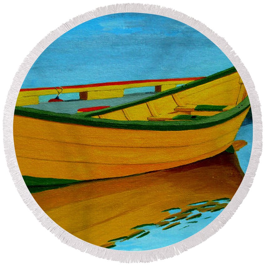 Grand Banks Round Beach Towel featuring the painting A Grand Banks Dory by Anthony Dunphy