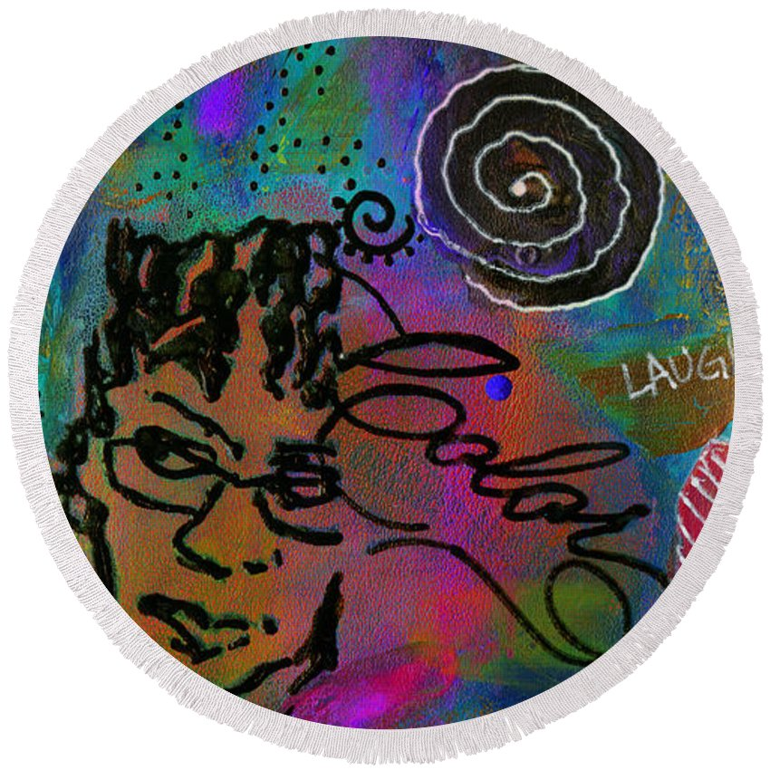 Acrylic Round Beach Towel featuring the mixed media A Healing Potion Called Color by Angela L Walker
