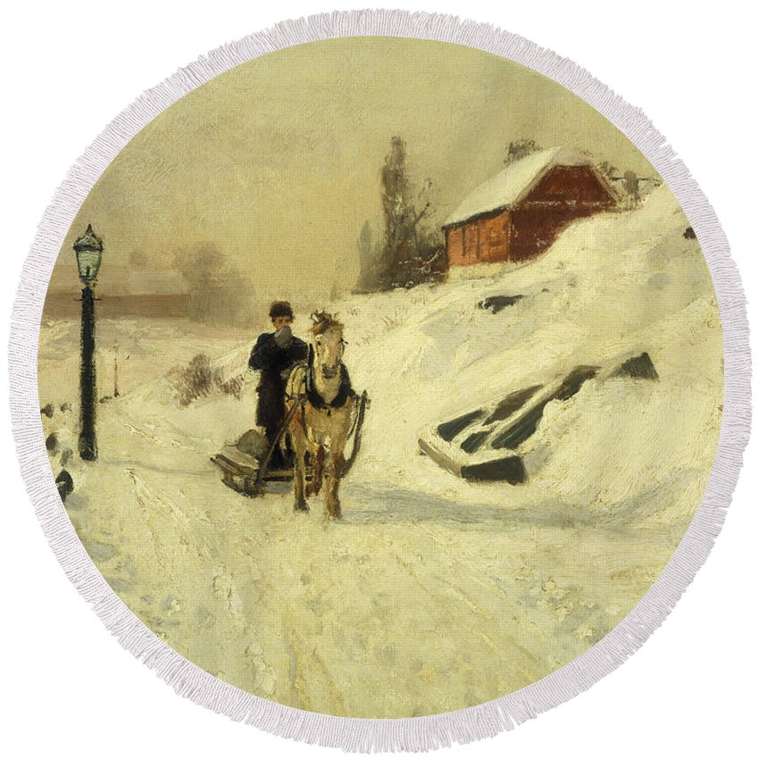 Horse-drawn Round Beach Towel featuring the painting A Horse Drawn Sleigh In A Winter Landscape by Fritz Thaulow