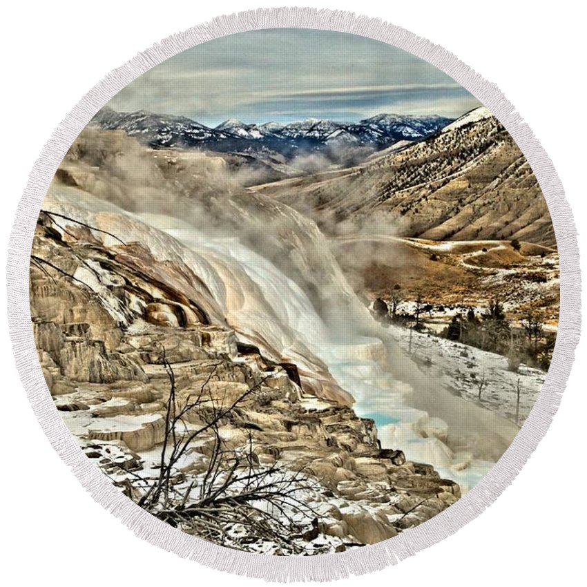 Yellowstone National Park Round Beach Towel featuring the photograph A Hot Spring Runs Through It by Adam Jewell