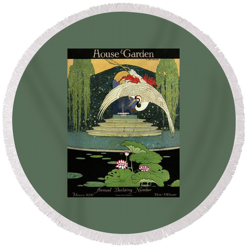 Illustration Round Beach Towel featuring the photograph A House And Garden Cover A Bird Over A Pond by H. George Brandt