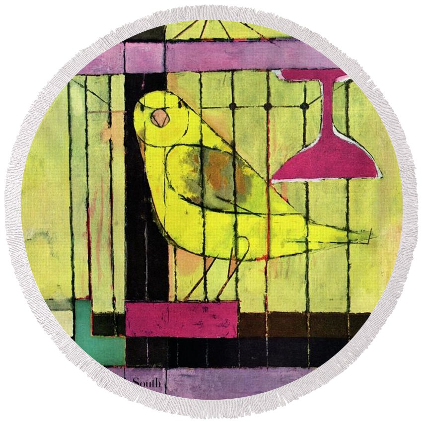 Illustration Round Beach Towel featuring the photograph A House And Garden Cover Of A Bird In A Cage by Hans Moller