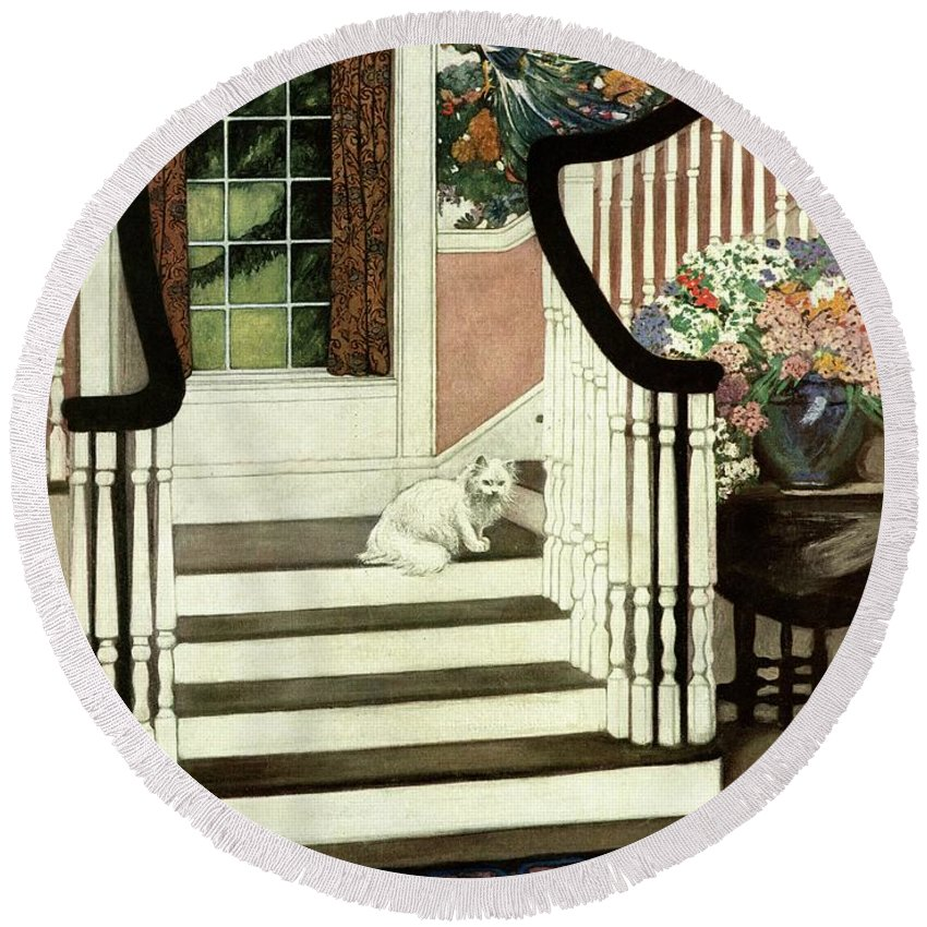 Animal Round Beach Towel featuring the photograph A House And Garden Cover Of A Cat On A Staircase by Ethel Franklin Betts Baines