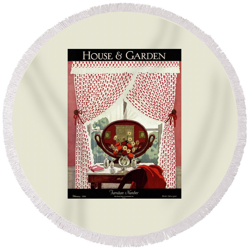 Illustration Round Beach Towel featuring the photograph A House And Garden Cover Of A Mirror by Pierre Brissaud