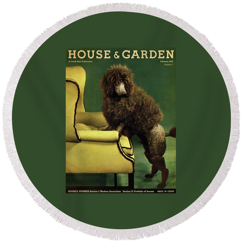 Illustration Round Beach Towel featuring the photograph A House And Garden Cover Of A Poodle by Anton Bruehl