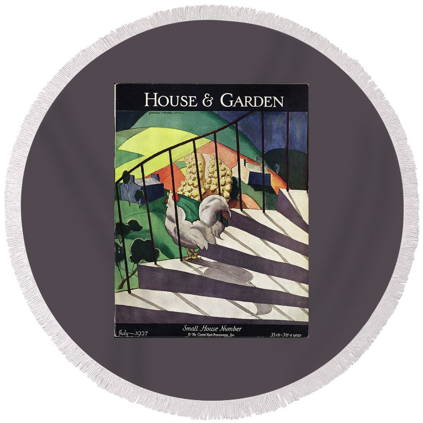 Illustration Round Beach Towel featuring the photograph A House And Garden Cover Of A Rooster by Bradley Walker Tomlin