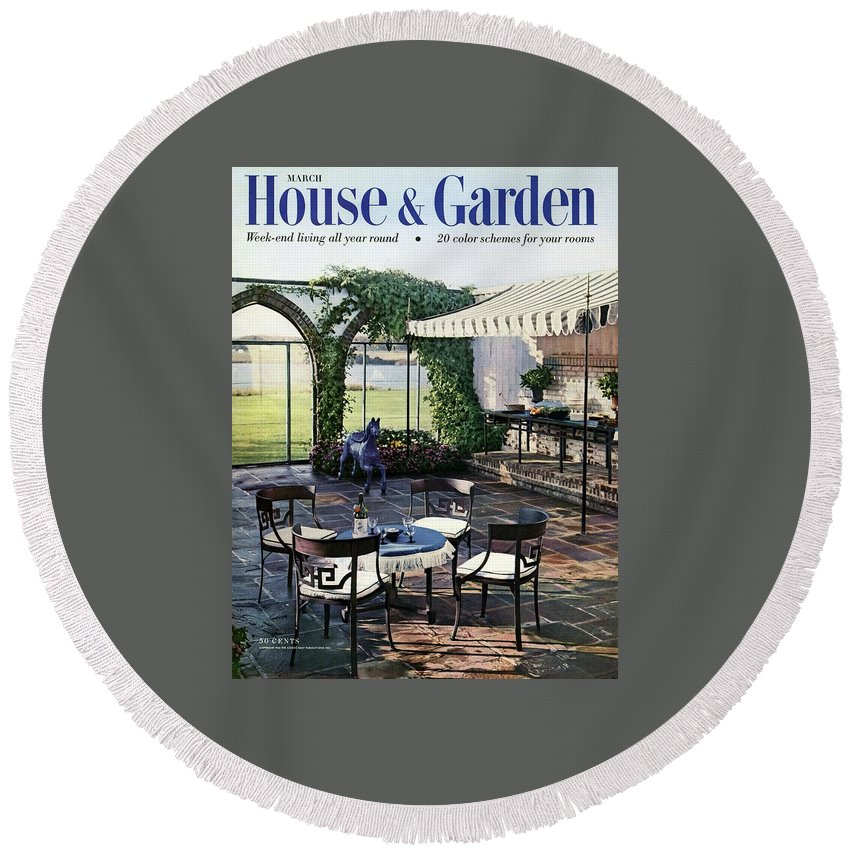 Magazine Round Beach Towel featuring the photograph A House And Garden Cover Of A Terrace In East by Wiliam Grigsby
