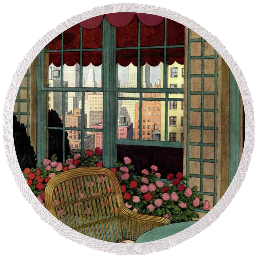 Illustration Round Beach Towel featuring the photograph A House And Garden Cover Of A Wicker Chair by Pierre Brissaud