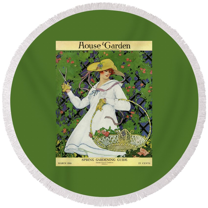 Illustration Round Beach Towel featuring the photograph A House And Garden Cover Of A Woman Gardening by Ruth Easton