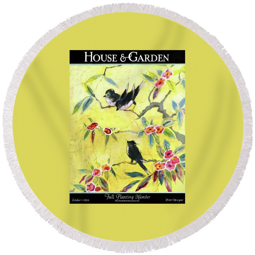 Illustration Round Beach Towel featuring the photograph A House And Garden Cover Of Chickadees by Leah Ramsay