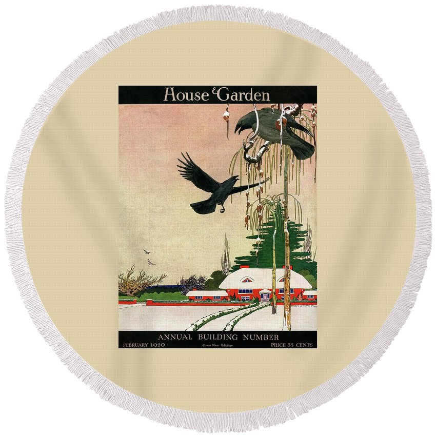Illustration Round Beach Towel featuring the photograph A House And Garden Cover Of Crows By A House by Charles Livingston Bull