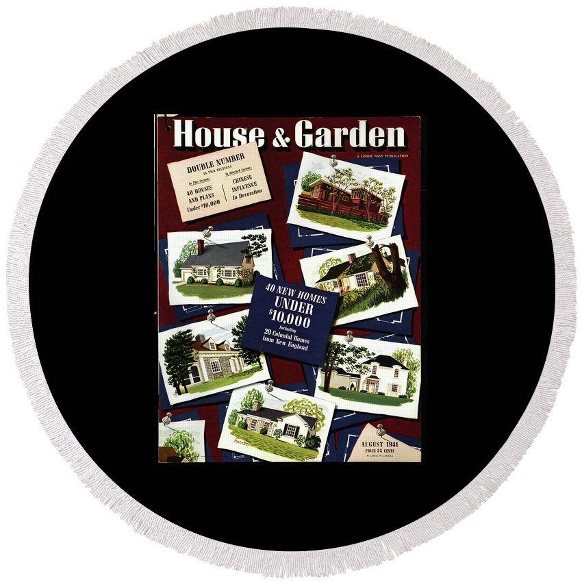 Illustration Round Beach Towel featuring the photograph A House And Garden Cover Of Houses by Robert Harrer