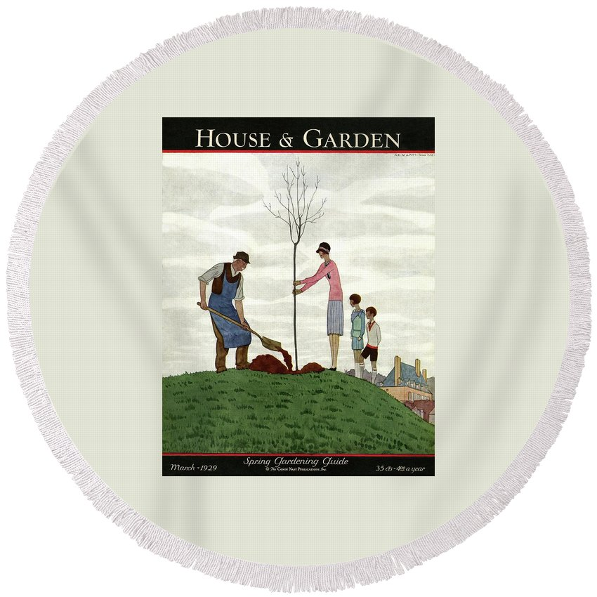 Illustration Round Beach Towel featuring the photograph A House And Garden Cover Of People Planting by Andre E. Marty