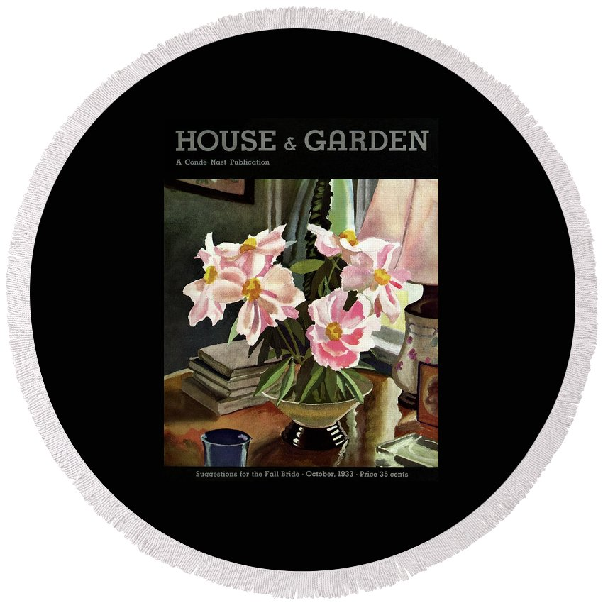 Illustration Round Beach Towel featuring the photograph A House And Garden Cover Of Rhododendrons by David Payne