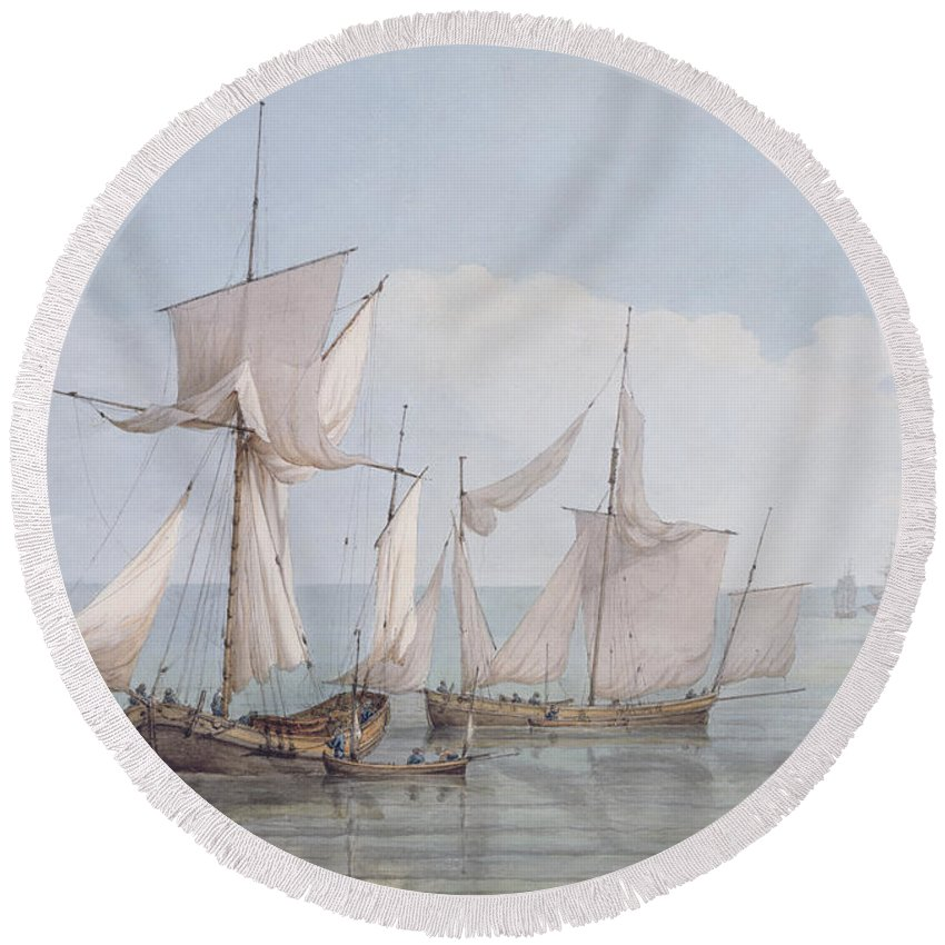 Boat Round Beach Towel featuring the painting A Hoy And A Lugger With Other Shipping On A Calm Sea by John Thomas Serres