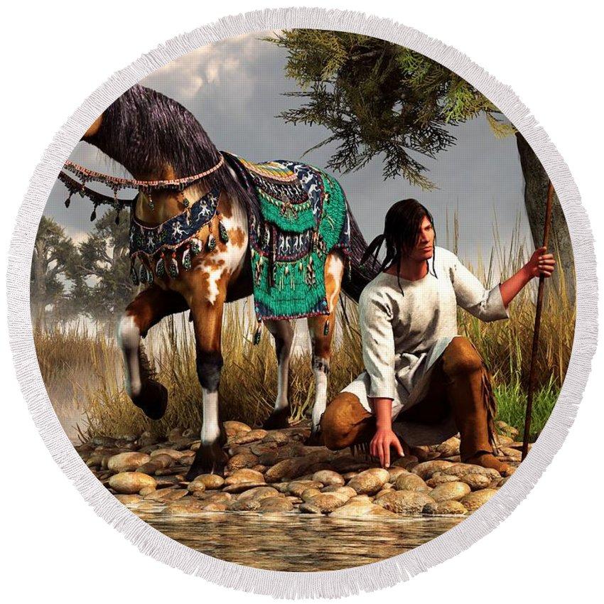 Round Beach Towel featuring the digital art A Hunter And His Horse by Daniel Eskridge