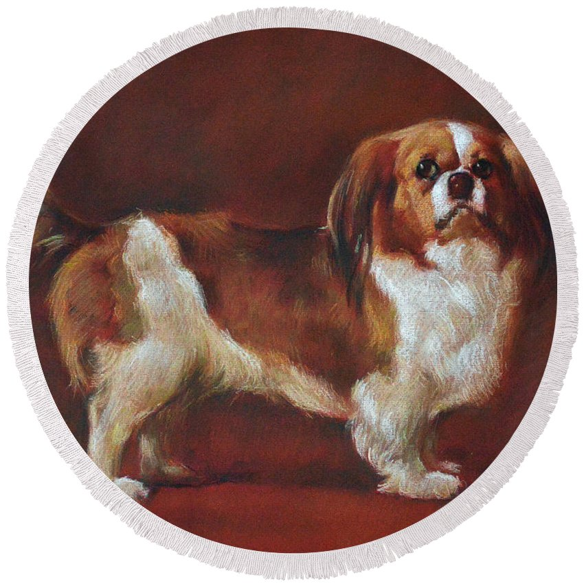 Pastel Round Beach Towel featuring the pastel A King Charles Spaniel by Iliyan Bozhanov
