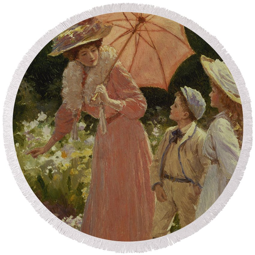 Garden Round Beach Towel featuring the painting A Lady With A Parasol Showing How by Percy Tarrant